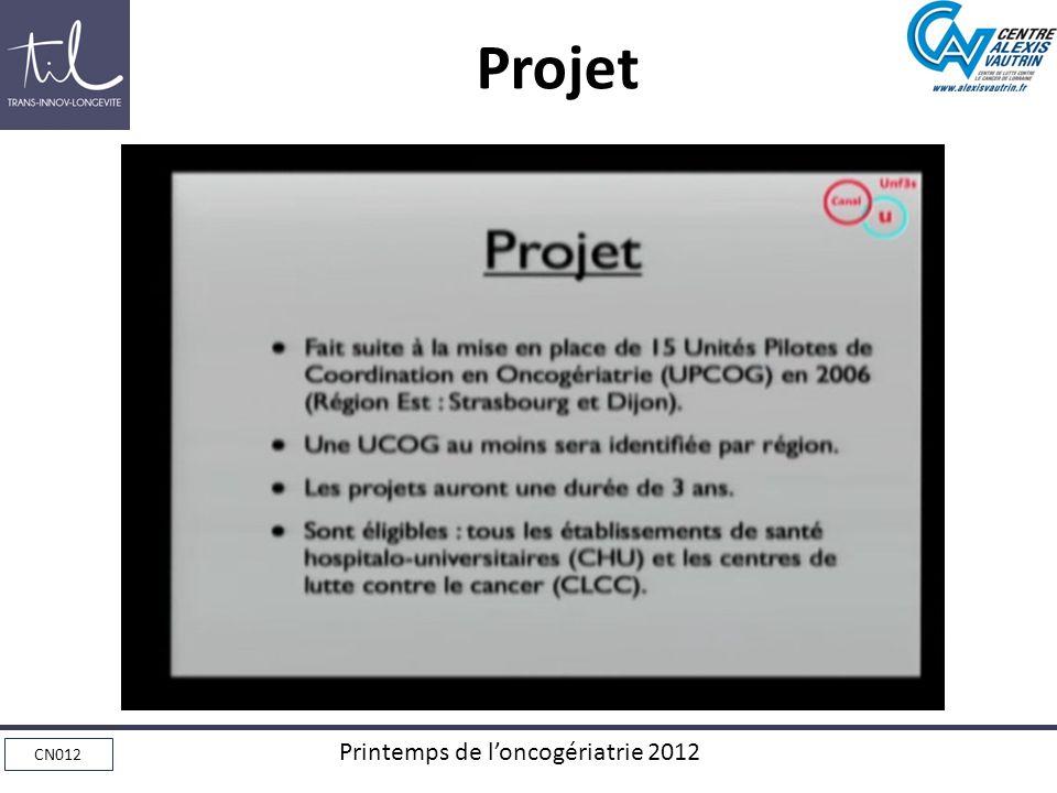 CN012 Printemps de loncogériatrie 2012 Projet