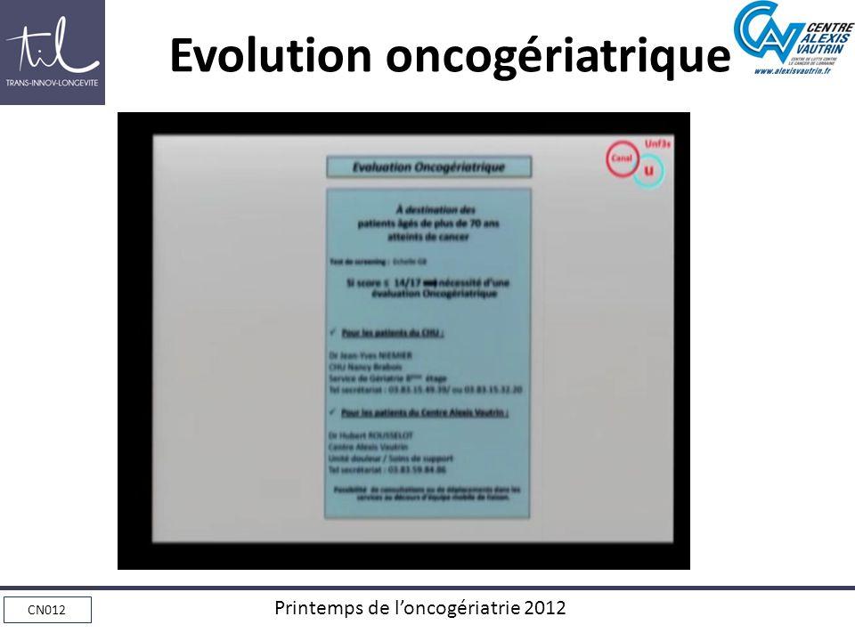 CN012 Printemps de loncogériatrie 2012 Evolution oncogériatrique