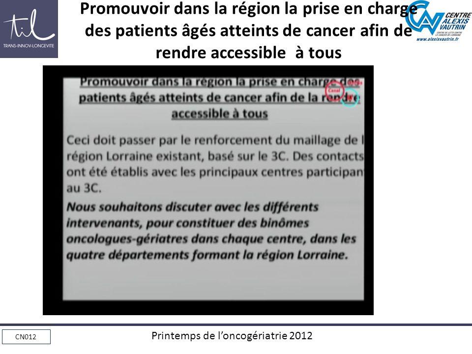 CN012 Printemps de loncogériatrie 2012 Promouvoir dans la région la prise en charge des patients âgés atteints de cancer afin de rendre accessible à tous