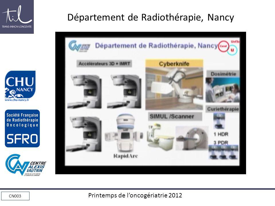 CN003 Printemps de loncogériatrie 2012 Département de Radiothérapie, Nancy