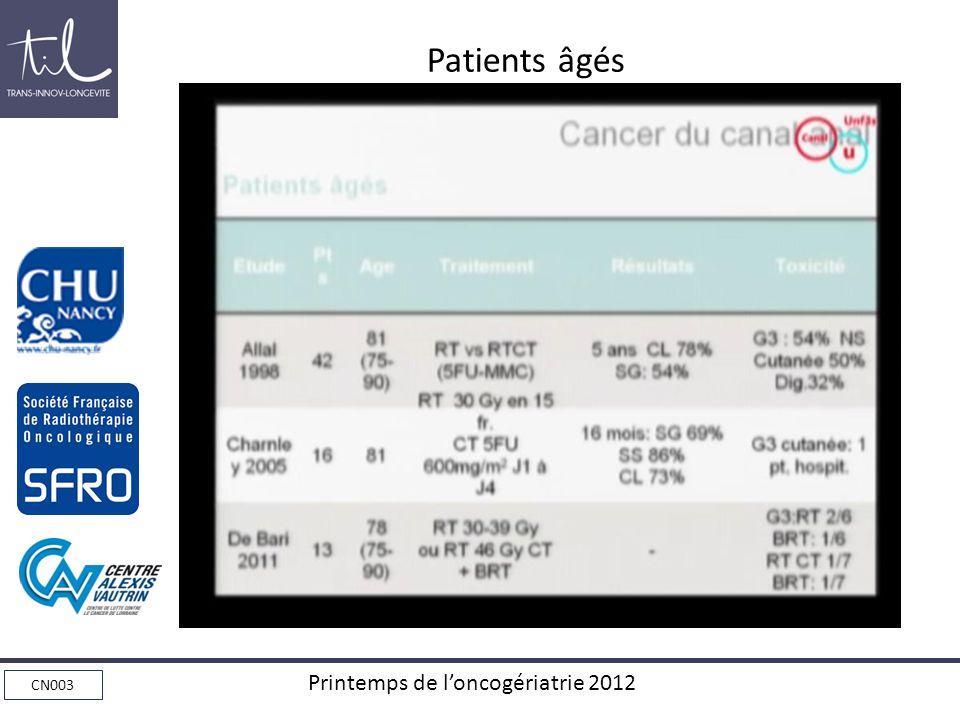 CN003 Printemps de loncogériatrie 2012 Patients âgés