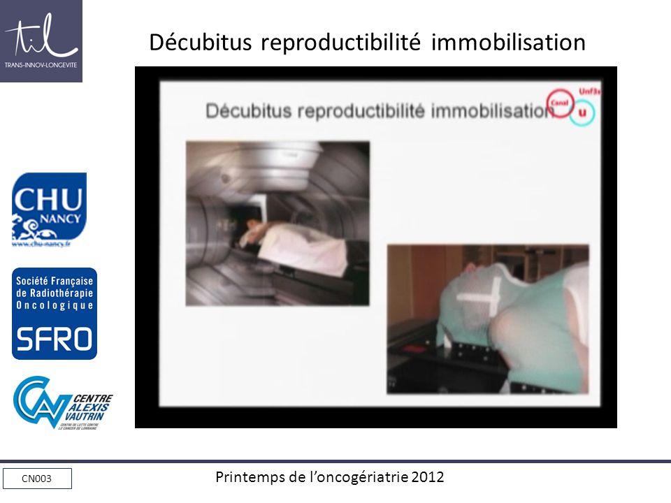 CN003 Printemps de loncogériatrie 2012 Décubitus reproductibilité immobilisation