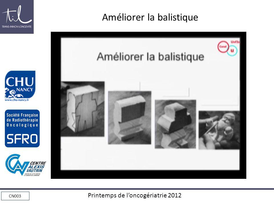 CN003 Printemps de loncogériatrie 2012 Améliorer la balistique
