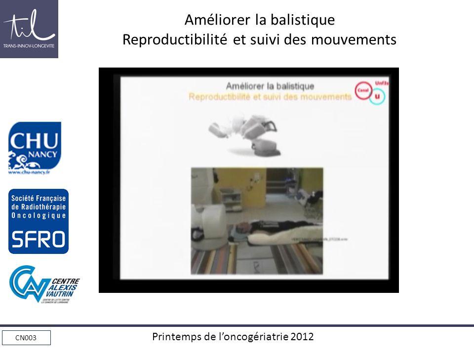 CN003 Printemps de loncogériatrie 2012 Améliorer la balistique Reproductibilité et suivi des mouvements