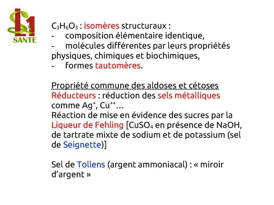 C3H6O3 : isomères structuraux : - composition élémentaire identique, - molécules différentes par leurs propriétés physiques, chimiques et biochimiques, - formes tautomères.