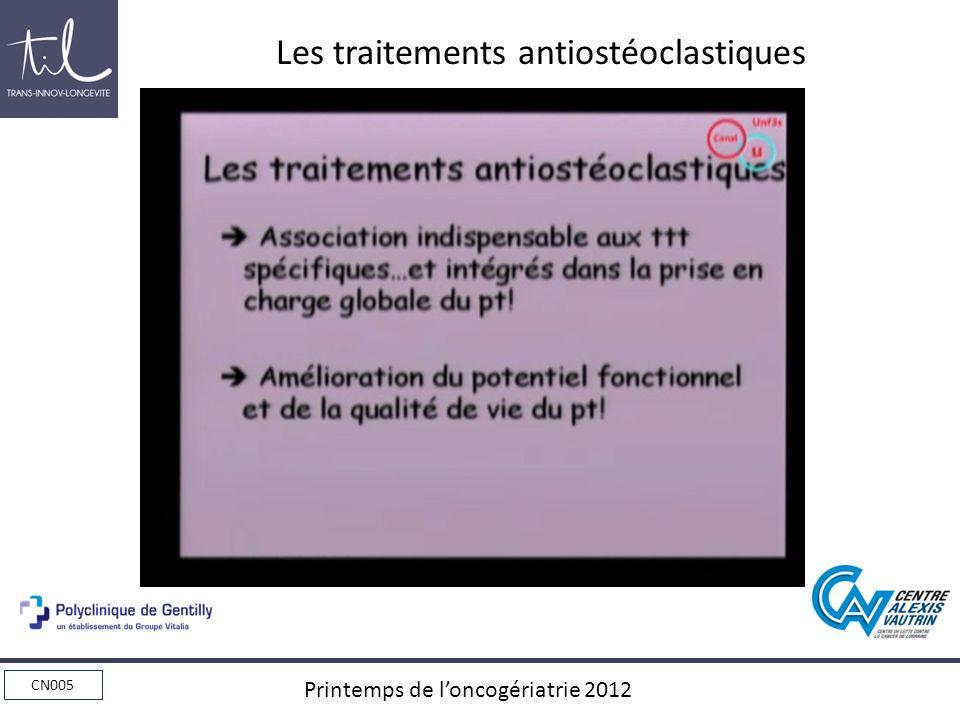 CN005 Printemps de loncogériatrie 2012 Les traitements antiostéoclastiques Association indispensable aux ttt spécifiques…et Intégrés dans la prise en