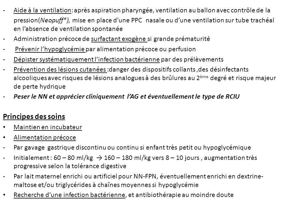 -Aide à la ventilation: après aspiration pharyngée, ventilation au ballon avec contrôle de la pression(Neopuff*), mise en place dune PPC nasale ou dun