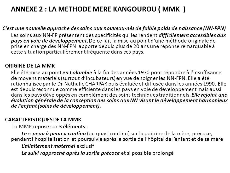 ANNEXE 2 : LA METHODE MERE KANGOUROU ( MMK ) Cest une nouvelle approche des soins aux nouveau-nés de faible poids de naissance (NN-FPN) Les soins aux