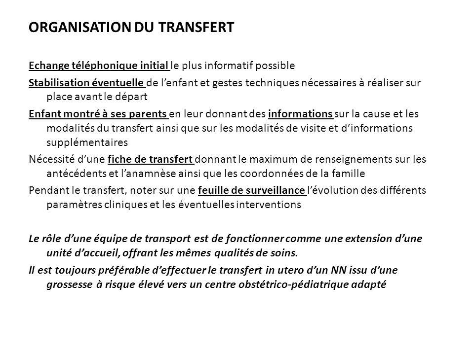ORGANISATION DU TRANSFERT Echange téléphonique initial le plus informatif possible Stabilisation éventuelle de lenfant et gestes techniques nécessaire