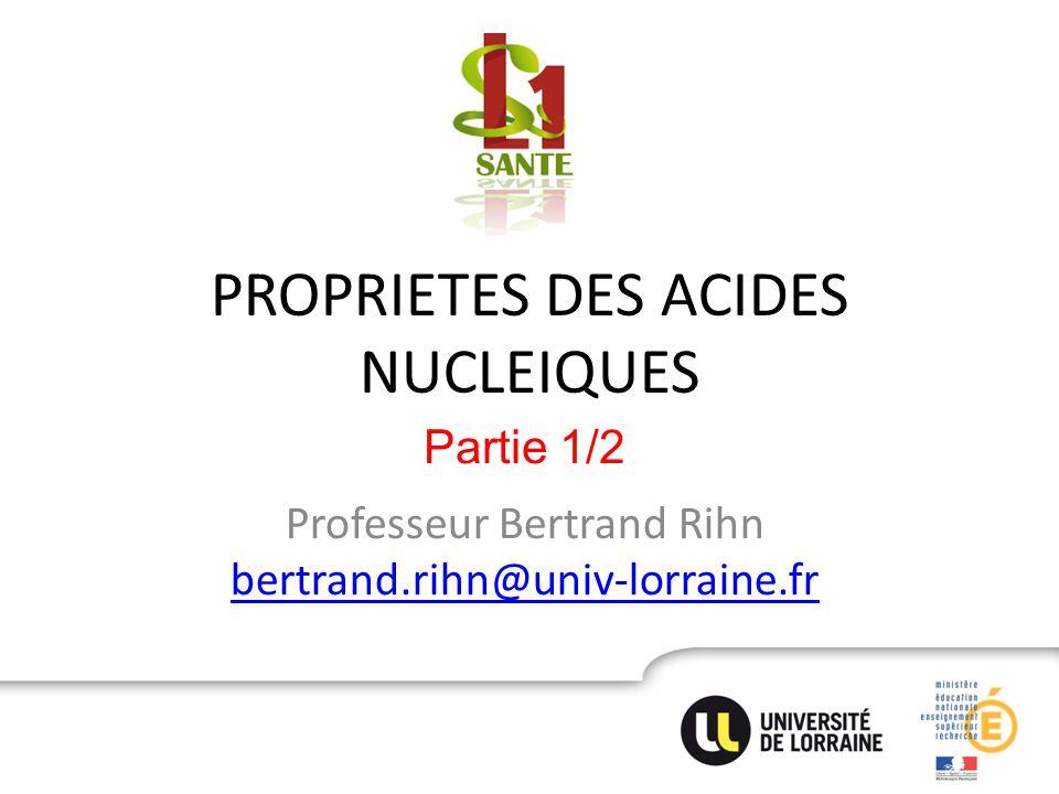 PROPRIETES DES ACIDES NUCLEIQUES Professeur Bertrand Rihn bertrand.rihn@univ-lorraine.fr bertrand.rihn@univ-lorraine.fr Partie 1/2