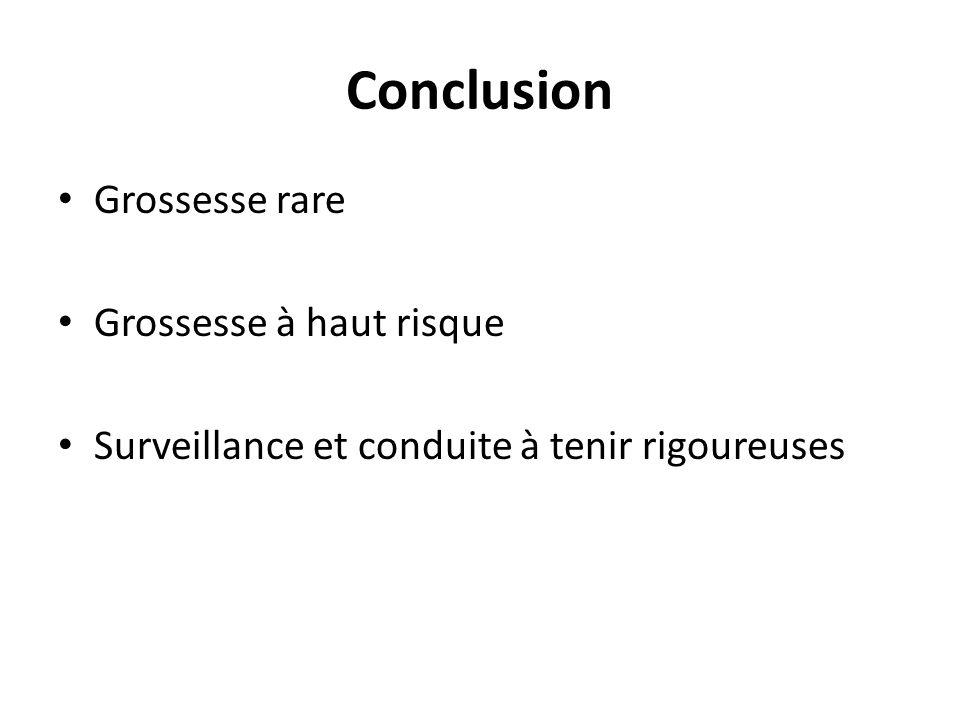 Conclusion Grossesse rare Grossesse à haut risque Surveillance et conduite à tenir rigoureuses