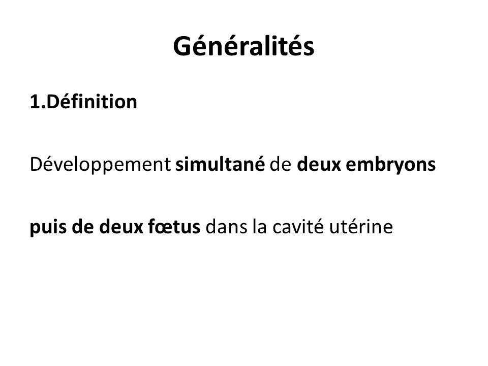 Généralités 1.Définition Développement simultané de deux embryons puis de deux fœtus dans la cavité utérine