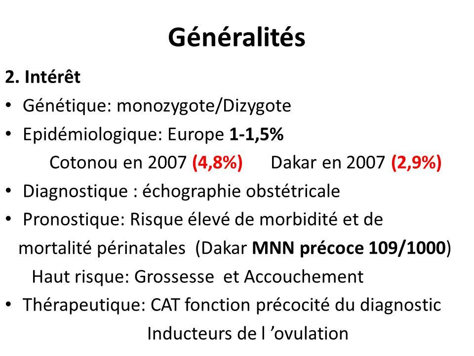 Généralités 2. Intérêt Génétique: monozygote/Dizygote Epidémiologique: Europe 1-1,5% Cotonou en 2007 (4,8%) Dakar en 2007 (2,9%) Diagnostique : échogr