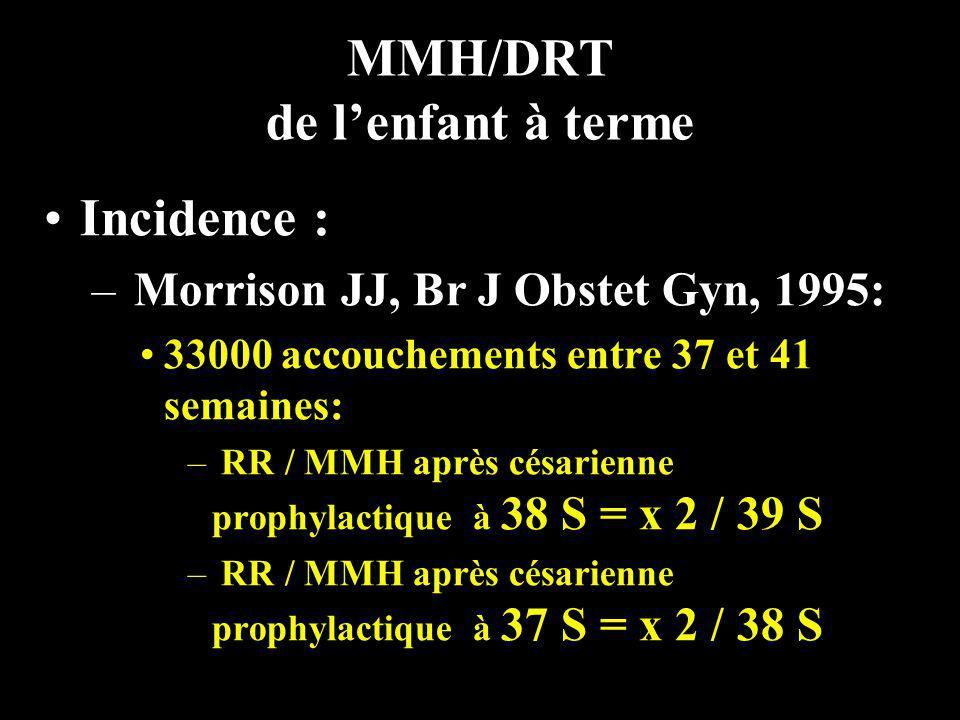 MMH/DRT de lenfant à terme Incidence : – Morrison JJ, Br J Obstet Gyn, 1995: 33000 accouchements entre 37 et 41 semaines: – RR / MMH après césarienne