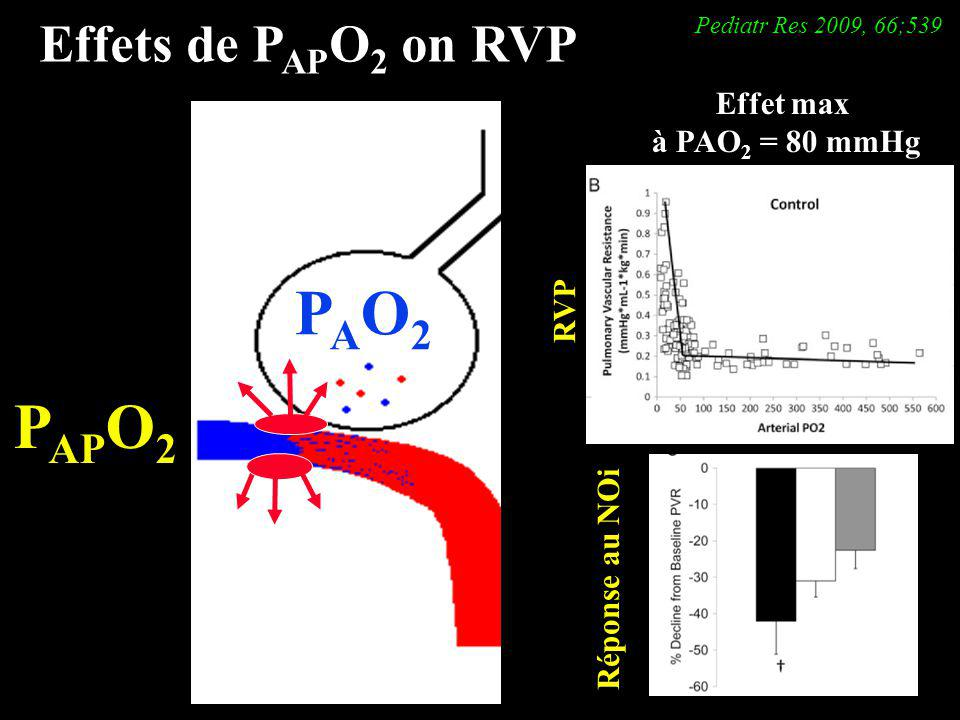 Effets de P AP O 2 on RVP PAO2PAO2 P AP O 2 Effet max à PAO 2 = 80 mmHg RVP Réponse au NOi Pediatr Res 2009, 66;539