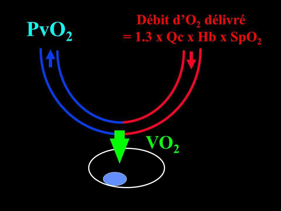 VO 2 Débit dO 2 délivré = 1.3 x Qc x Hb x SpO 2 PvO 2