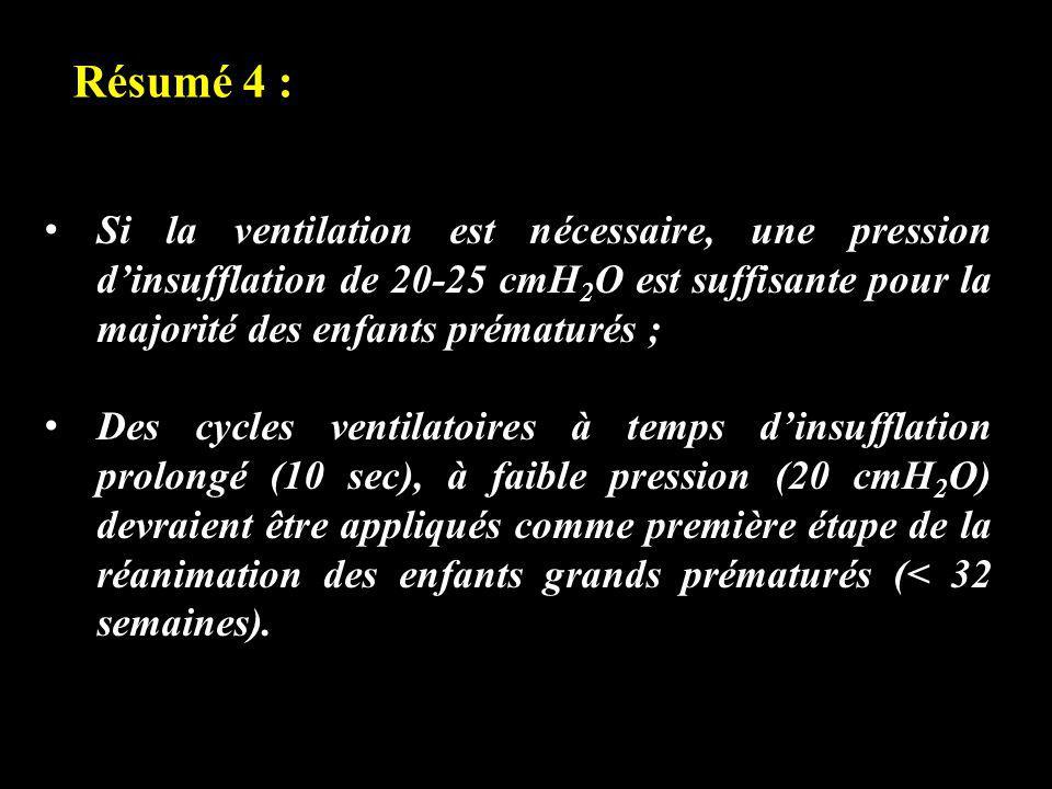 Résumé 4 : Si la ventilation est nécessaire, une pression dinsufflation de 20-25 cmH 2 O est suffisante pour la majorité des enfants prématurés ; Des