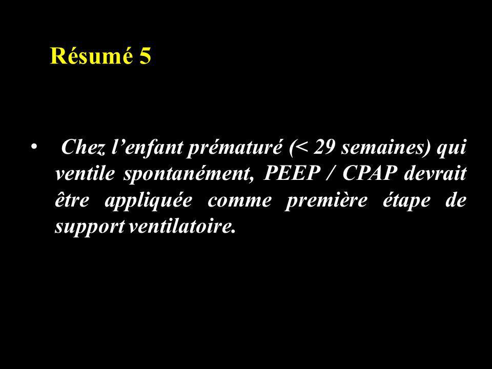 Résumé 5 Chez lenfant prématuré (< 29 semaines) qui ventile spontanément, PEEP / CPAP devrait être appliquée comme première étape de support ventilato