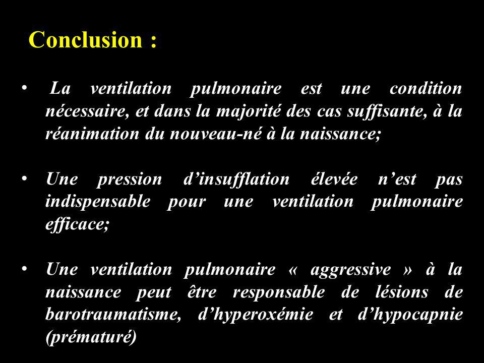 Conclusion : La ventilation pulmonaire est une condition nécessaire, et dans la majorité des cas suffisante, à la réanimation du nouveau-né à la naiss