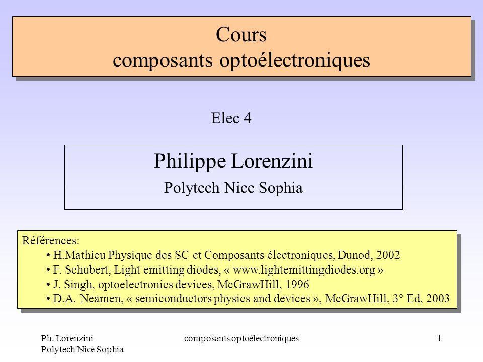 Ph. Lorenzini Polytech'Nice Sophia composants optoélectroniques1 Cours composants optoélectroniques Philippe Lorenzini Polytech Nice Sophia Elec 4 Réf
