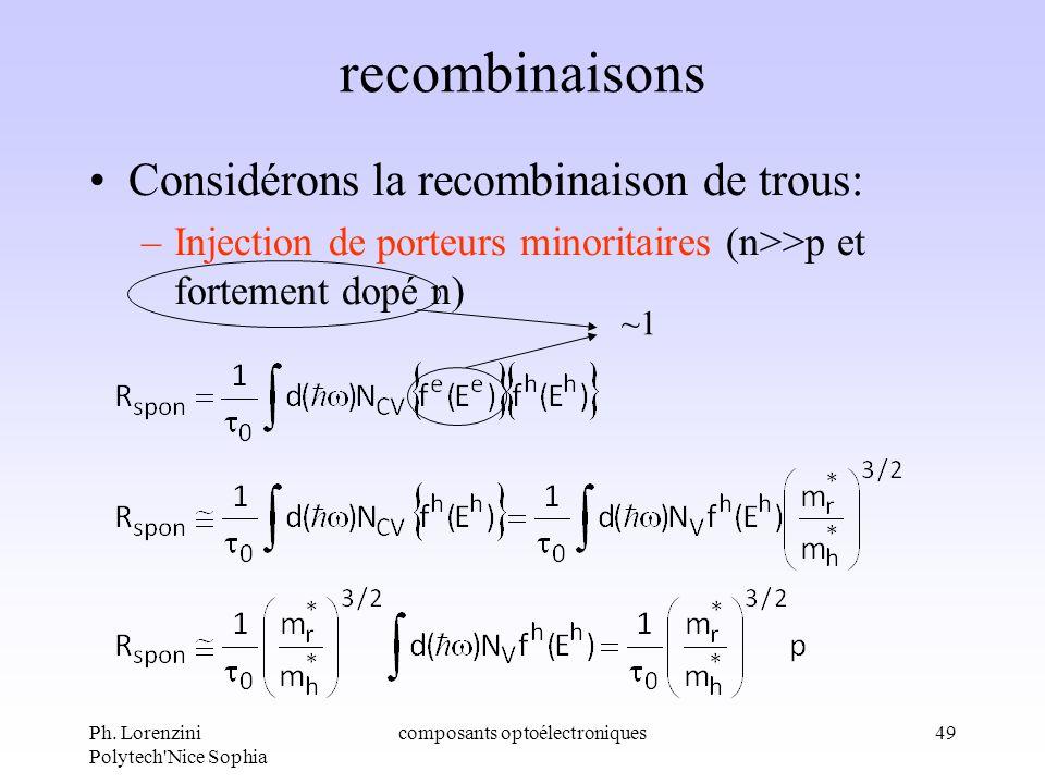 Ph. Lorenzini Polytech'Nice Sophia composants optoélectroniques49 recombinaisons Considérons la recombinaison de trous: –Injection de porteurs minorit