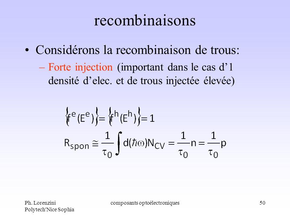 Ph. Lorenzini Polytech'Nice Sophia composants optoélectroniques50 recombinaisons Considérons la recombinaison de trous: –Forte injection (important da