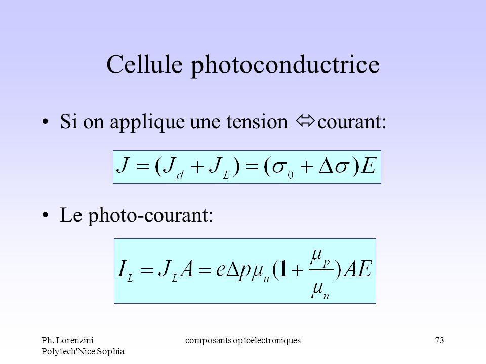 Ph. Lorenzini Polytech'Nice Sophia composants optoélectroniques73 Cellule photoconductrice Si on applique une tension courant: Le photo-courant: