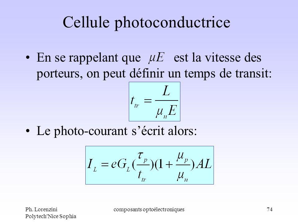 Ph. Lorenzini Polytech'Nice Sophia composants optoélectroniques74 Cellule photoconductrice En se rappelant que est la vitesse des porteurs, on peut dé