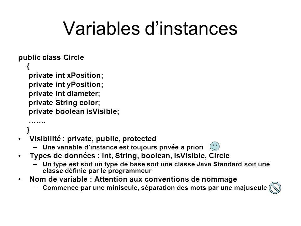 Variables dinstances public class Circle { private int xPosition; private int yPosition; private int diameter; private String color; private boolean i