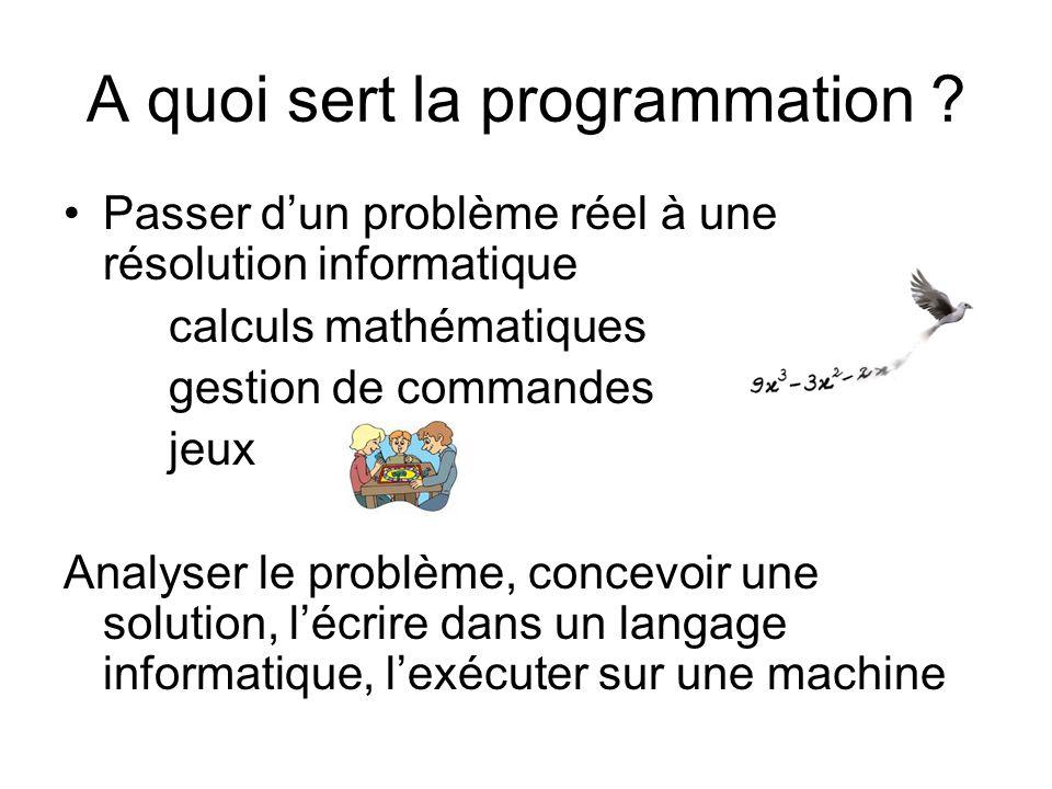 A quoi sert la programmation ? Passer dun problème réel à une résolution informatique calculs mathématiques gestion de commandes jeux Analyser le prob