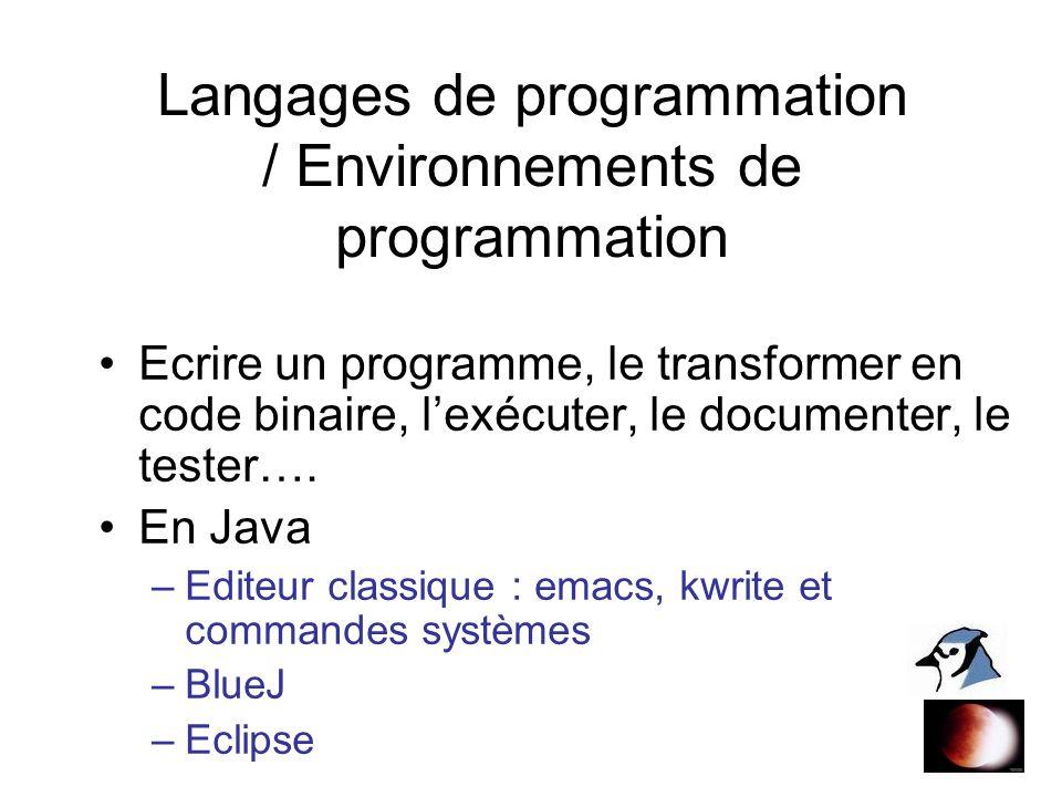 Langages de programmation / Environnements de programmation Ecrire un programme, le transformer en code binaire, lexécuter, le documenter, le tester….
