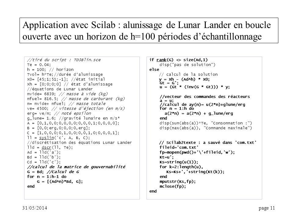 31/05/2014page 11 Application avec Scilab : alunissage de Lunar Lander en boucle ouverte avec un horizon de h=100 périodes déchantillonnage //tiré du