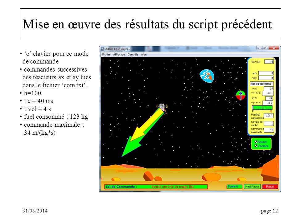 31/05/2014page 12 Mise en œuvre des résultats du script précédent o clavier pour ce mode de commande commandes successives des réacteurs ax et ay lues