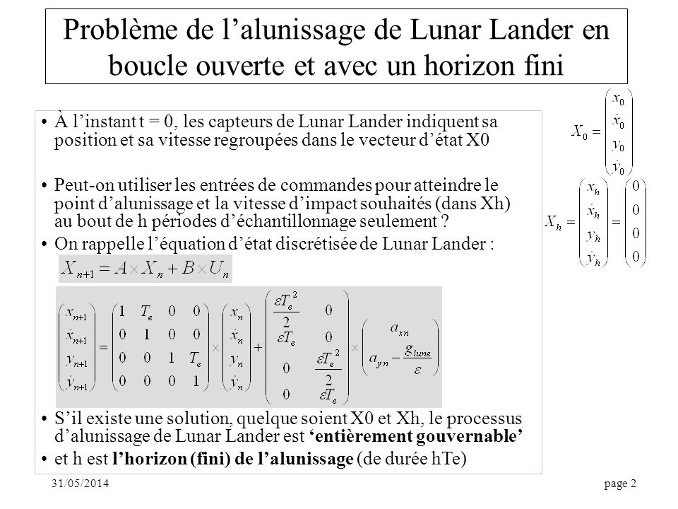 31/05/2014page 2 Problème de lalunissage de Lunar Lander en boucle ouverte et avec un horizon fini À linstant t = 0, les capteurs de Lunar Lander indi