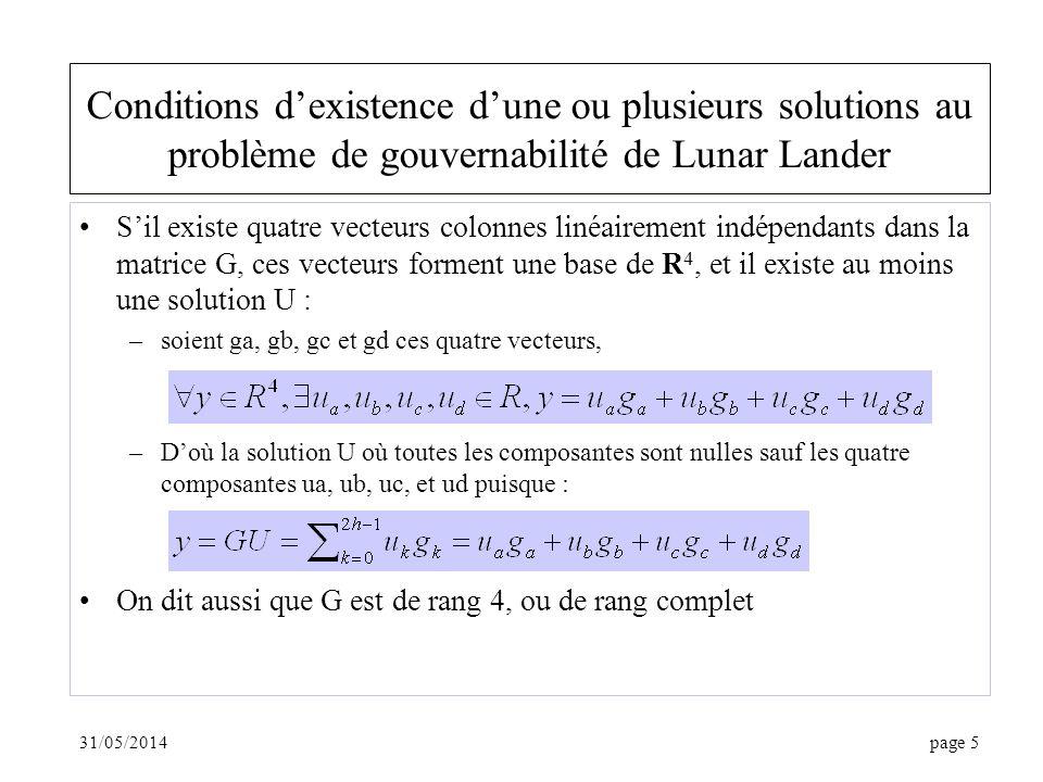 31/05/2014page 6 Solution du problème de gouvernabilité de Lunar Lander Si h = 2, G est carrée, si elle est de rang 4, elle est inversible, et il existe une seule solution Si h > 2, et G de rang 4, la matrice (GG T ) -1 existe (cf.
