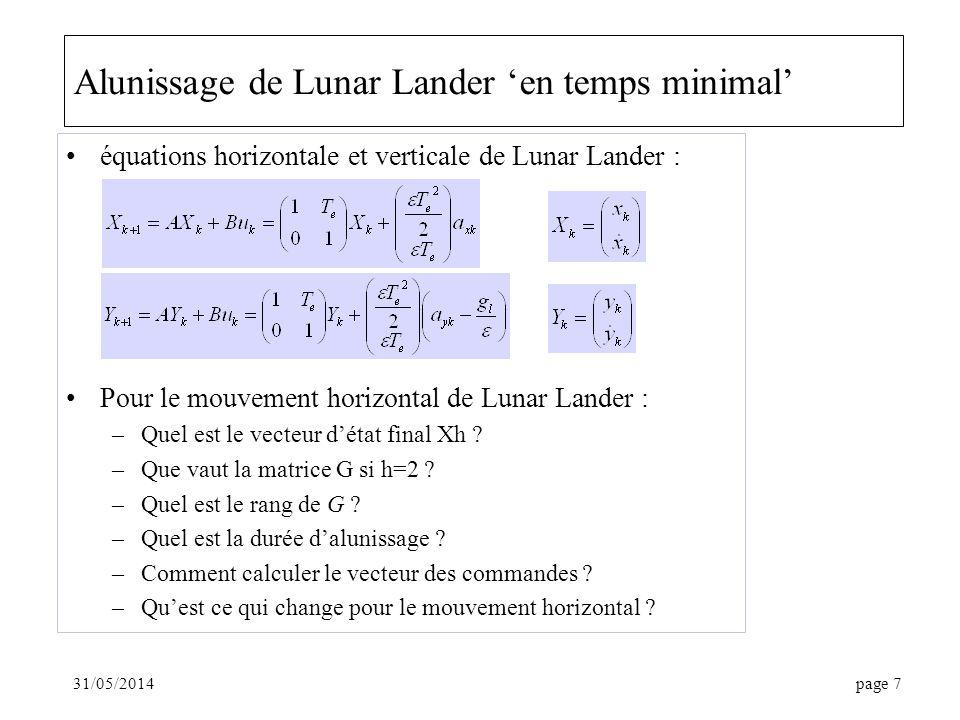 31/05/2014page 7 Alunissage de Lunar Lander en temps minimal équations horizontale et verticale de Lunar Lander : Pour le mouvement horizontal de Luna