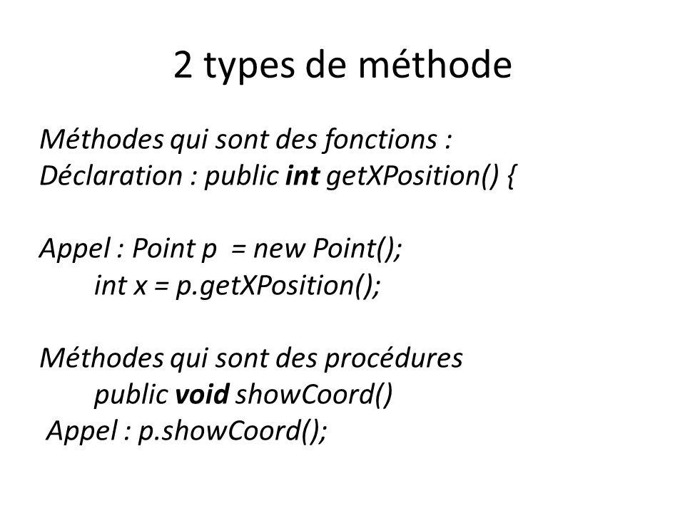 2 types de méthode Méthodes qui sont des fonctions : Déclaration : public int getXPosition() { Appel : Point p = new Point(); int x = p.getXPosition(); Méthodes qui sont des procédures public void showCoord() Appel : p.showCoord();