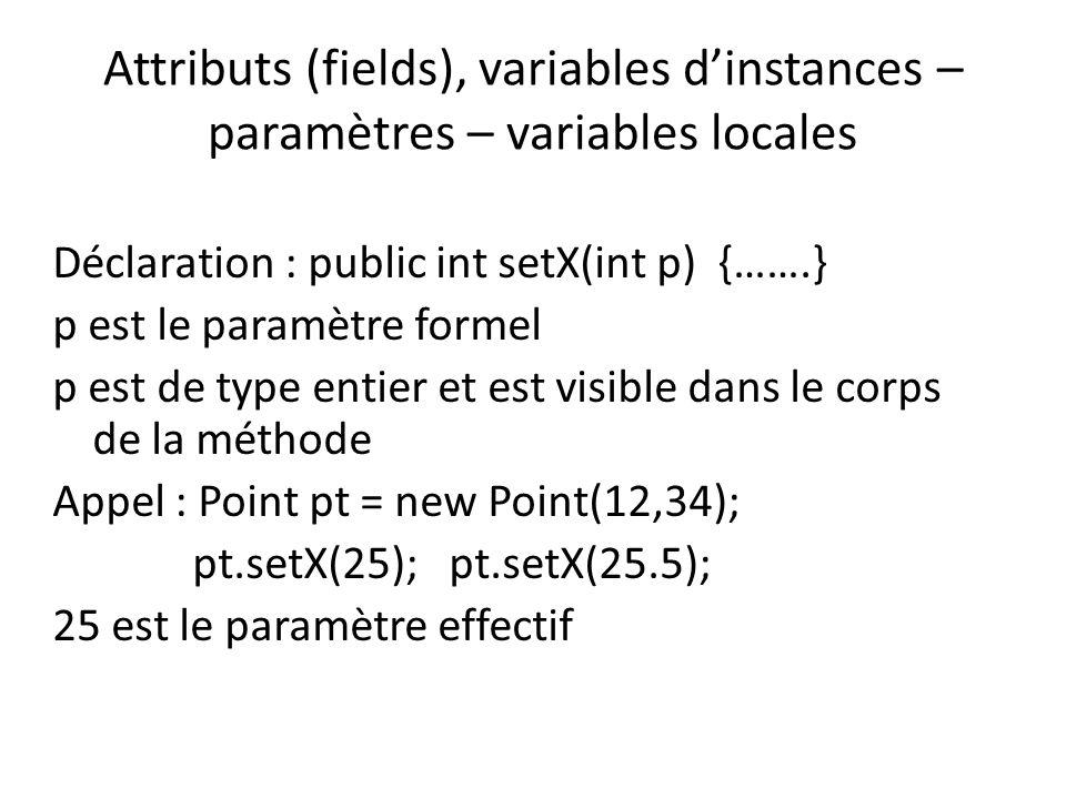 Attributs (fields), variables dinstances – paramètres – variables locales Déclaration : int y; Utilisation : y = 0; y = x; y++; ++y; y=y+1; y est visible dans le bloc (bloc {…}) dans lequel il est défini