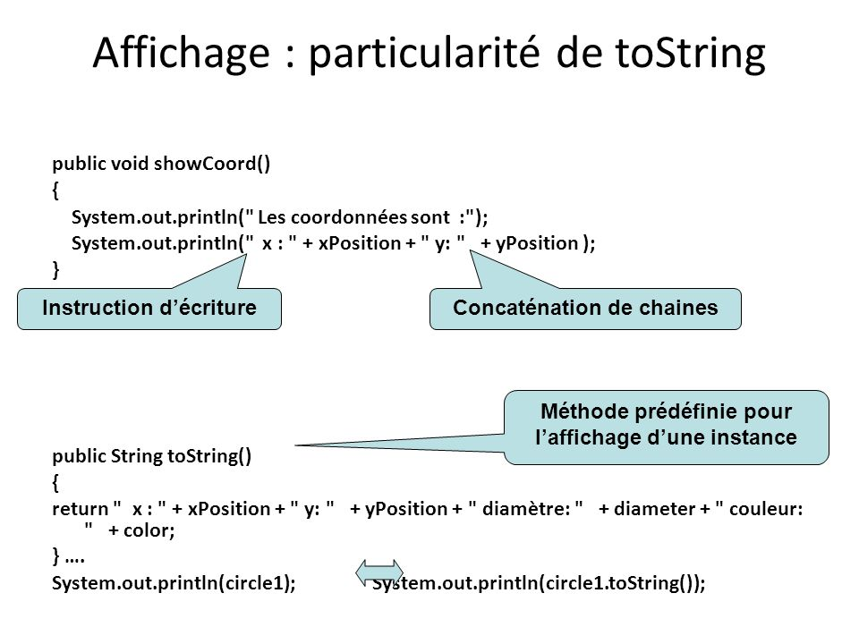 Affichage : particularité de toString public void showCoord() { System.out.println( Les coordonnées sont : ); System.out.println( x : + xPosition + y: + yPosition ); } public String toString() { return x : + xPosition + y: + yPosition + diamètre: + diameter + couleur: + color; } ….