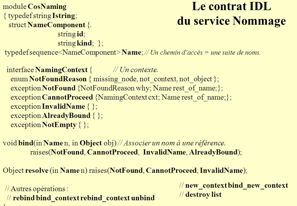 © 2008, Mireille Fornarino, E.P.U. Nice-Sophia Antipolis - 4 - Le contrat IDL du service Nommage module CosNaming { typedef string Istring; struct Nam