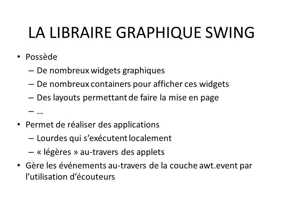 LA LIBRAIRE GRAPHIQUE SWING Possède – De nombreux widgets graphiques – De nombreux containers pour afficher ces widgets – Des layouts permettant de fa