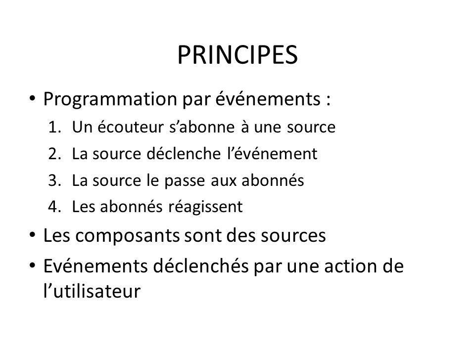 PRINCIPES Programmation par événements : 1.Un écouteur sabonne à une source 2.La source déclenche lévénement 3.La source le passe aux abonnés 4.Les ab