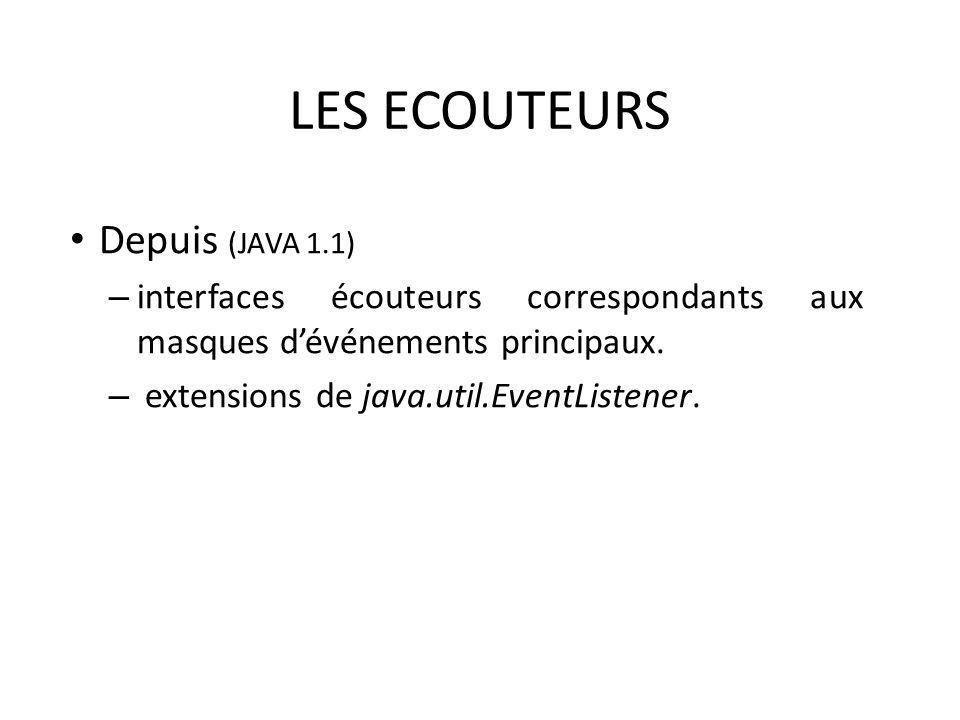 LES ECOUTEURS Depuis (JAVA 1.1) – interfaces écouteurs correspondants aux masques dévénements principaux. – extensions de java.util.EventListener. 27