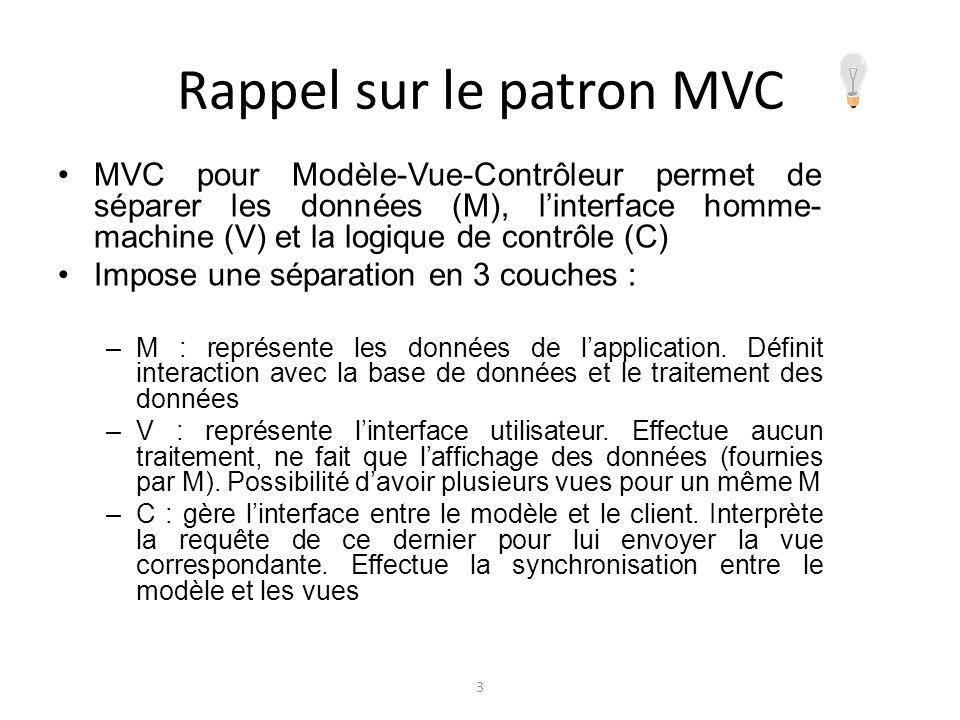 Rappel sur le patron MVC MVC pour Modèle-Vue-Contrôleur permet de séparer les données (M), linterface homme- machine (V) et la logique de contrôle (C)