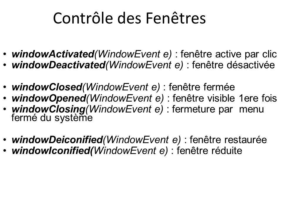 windowActivated(WindowEvent e) : fenêtre active par clic windowDeactivated(WindowEvent e) : fenêtre désactivée windowClosed(WindowEvent e) : fenêtre f