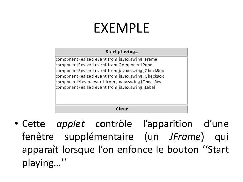 EXEMPLE Cette applet contrôle lapparition dune fenêtre supplémentaire (un JFrame) qui apparaît lorsque lon enfonce le bouton Start playing… 62