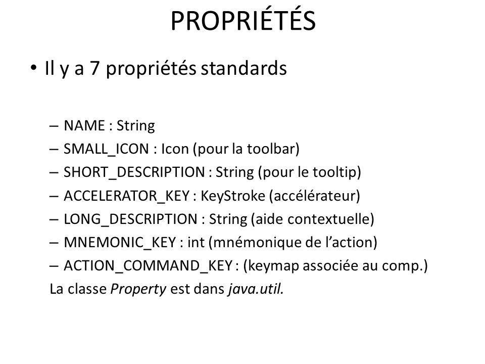 PROPRIÉTÉS Il y a 7 propriétés standards – NAME : String – SMALL_ICON : Icon (pour la toolbar) – SHORT_DESCRIPTION : String (pour le tooltip) – ACCELE