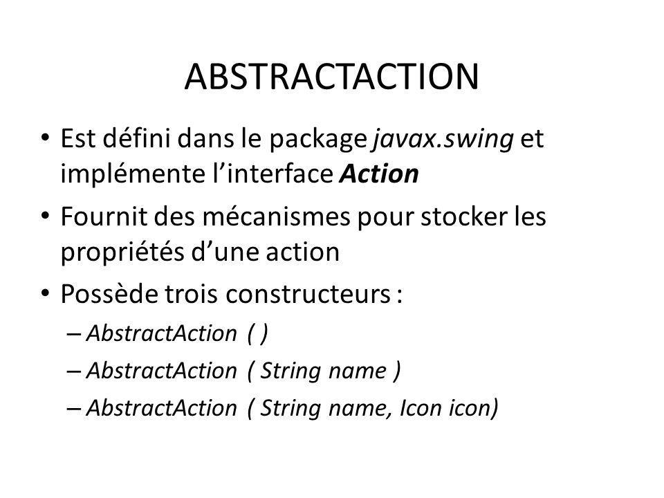 ABSTRACTACTION Est défini dans le package javax.swing et implémente linterface Action Fournit des mécanismes pour stocker les propriétés dune action P