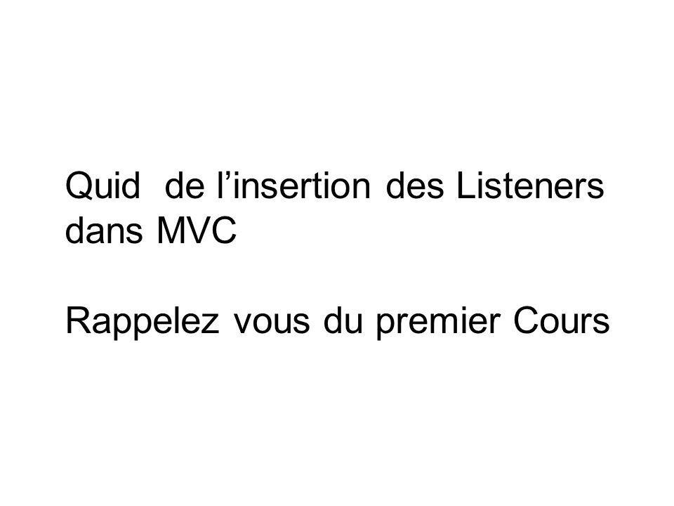 Quid de linsertion des Listeners dans MVC Rappelez vous du premier Cours