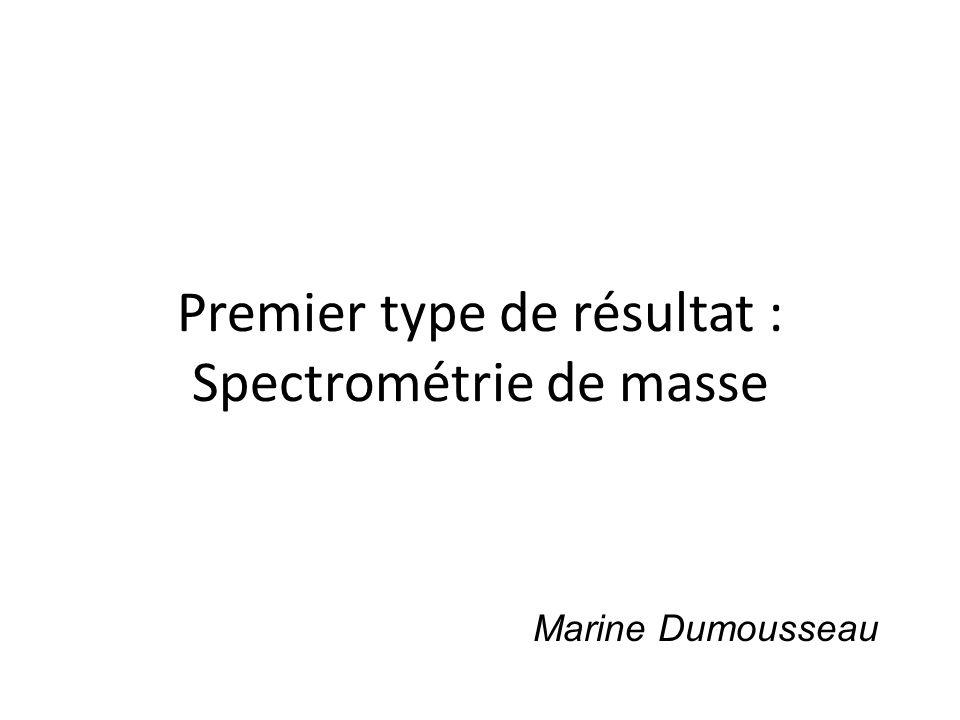 Premier type de résultat : Spectrométrie de masse Marine Dumousseau